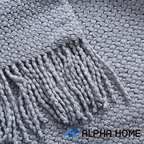 ALPHA HOME Knit Throw Blanket Warm Cozy For Couch Sofa Bed Beach Travel 50 X 60 Blue Gray 0 2