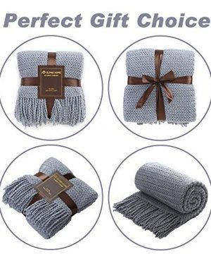 ALPHA HOME Knit Throw Blanket Warm Cozy For Couch Sofa Bed Beach Travel 50 X 60 Blue Gray 0 3 300x360