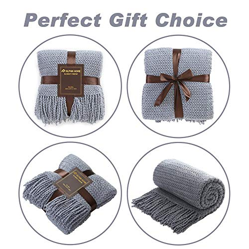 ALPHA HOME Knit Throw Blanket Warm Cozy For Couch Sofa Bed Beach Travel 50 X 60 Blue Gray 0 3