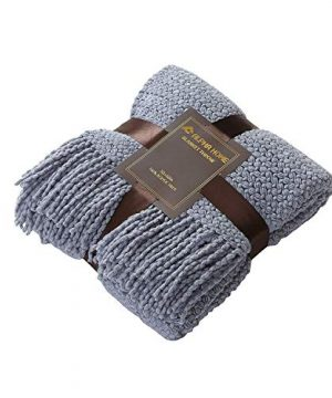 ALPHA HOME Knit Throw Blanket Warm Cozy For Couch Sofa Bed Beach Travel 50 X 60 Blue Gray 0 4 300x360