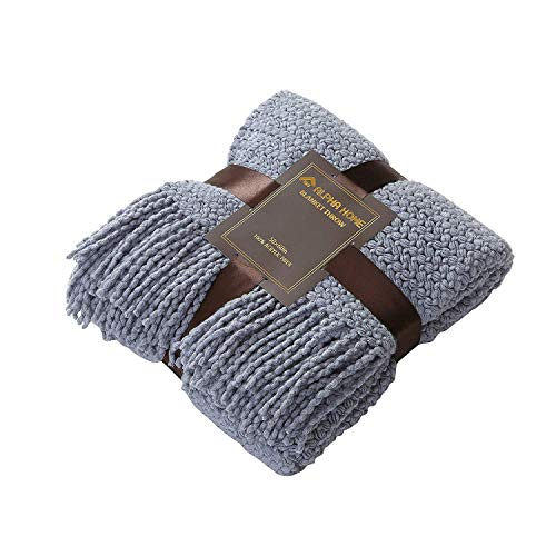 ALPHA HOME Knit Throw Blanket Warm Cozy For Couch Sofa Bed Beach Travel 50 X 60 Blue Gray 0 4