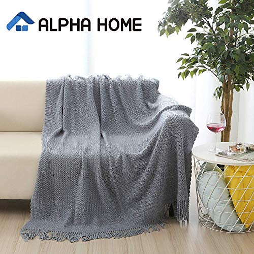 ALPHA HOME Knit Throw Blanket Warm Cozy For Couch Sofa Bed Beach Travel 50 X 60 Blue Gray 0