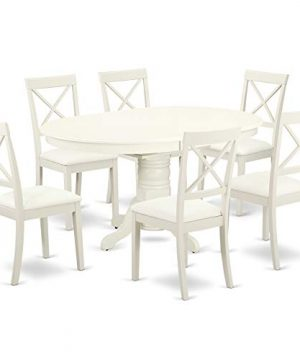 AVBO7 LWH LC 7 Pc Kitchen Table Set With A Dining Table And Six Faux Leather Seat Chairs In Linen White 0 300x360