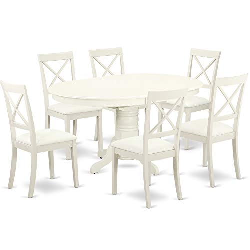 AVBO7 LWH LC 7 Pc Kitchen Table Set With A Dining Table And Six Faux Leather Seat Chairs In Linen White 0