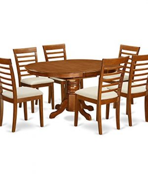 AVML7 SBR C 7 Pc Dining Room Set Oval Dinette Table With Leaf And 6 Dining Chairs 0 300x360