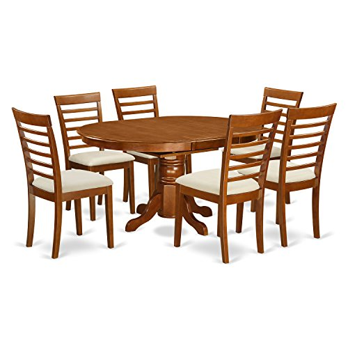 AVML7 SBR C 7 Pc Dining Room Set Oval Dinette Table With Leaf And 6 Dining Chairs 0