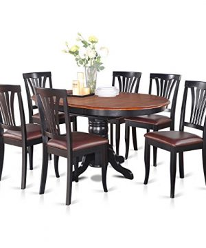 AVON7 BLK LC 7 Pc Dining Room Set Oval Table With Leaf And 6 Dining Chairs 0 300x360