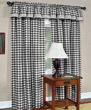 Achim Home Furnishings Buffalo Check Window Curtain Panel Black//White 42 x 84