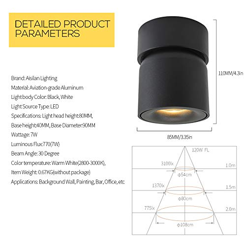 Aisilan Surface Mounted Spotlight LED Ceiling Light 3 Dimension Adjustable Minimalist White Black Nordic Style Natural Warm White Applications Home Office Events Exhibitions MSD52B3K7W 0 4