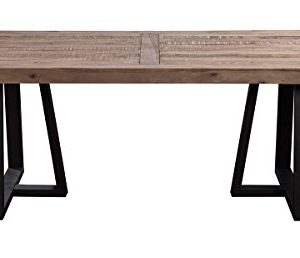 Alpine Furniture Prairie Dining Table 84 W X 42 D X 30 H Reclaimed Natural And Black Finish 0 300x258