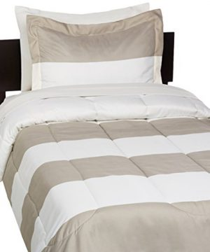 AmazonBasics 5 Piece Light Weight Microfiber Bed In A Bag Comforter Bedding Set Twin Or Twin XL Reversible Grey Stripe Pack Of 4 0 0 300x360