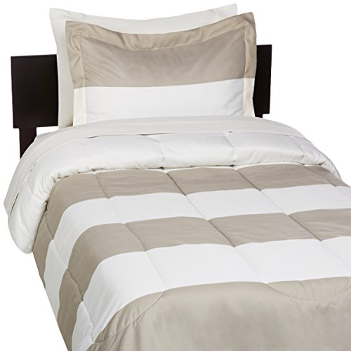 AmazonBasics 5 Piece Light Weight Microfiber Bed In A Bag Comforter Bedding Set Twin Or Twin XL Reversible Grey Stripe Pack Of 4 0 0