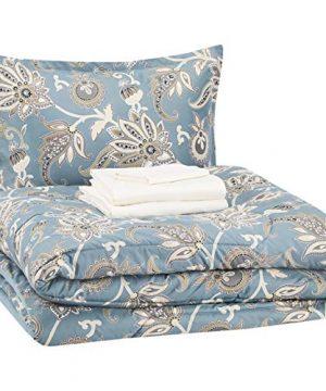 AmazonBasics 6 Piece Comforter Bedding Set Twin Twin XL Sea Foam Jacobean Microfiber Ultra Soft 0 300x360