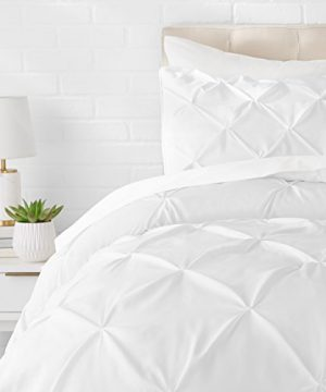 AmazonBasics Pinch Pleat Comforter Bedding Set Twin Bright White 0 300x360