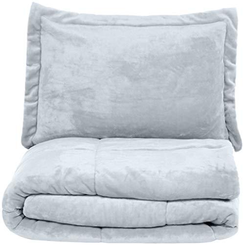 AmazonBasics Ultra Soft Micromink Sherpa Comforter Bed Set Twin Grey 0 0