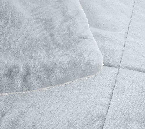 AmazonBasics Ultra Soft Micromink Sherpa Comforter Bed Set Twin Grey 0 1