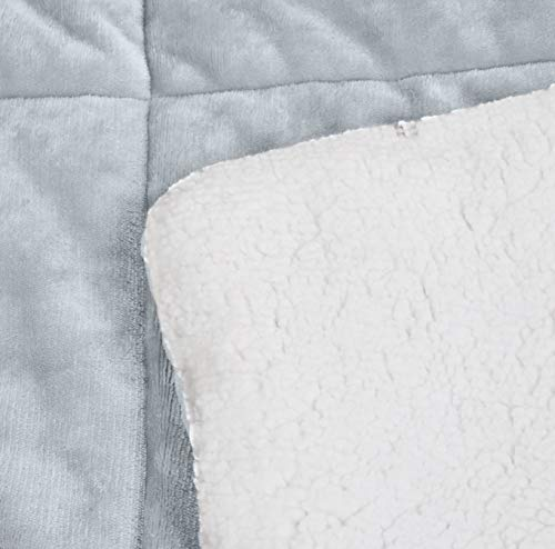 AmazonBasics Ultra Soft Micromink Sherpa Comforter Bed Set Twin Grey 0 2