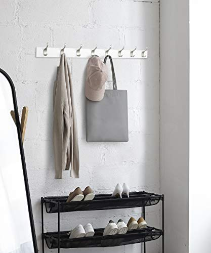 AmazonBasics Wall Mounted Coat Rack 8 Modern Hooks White 0 3