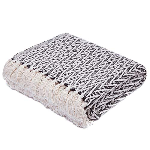 Americanflat Nira Black And Cream Chevron Cotton Blanket Throw With Fringe 50x60 Inches 0 1