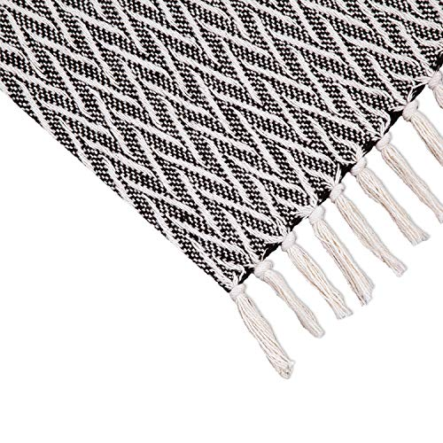 Americanflat Nira Black And Cream Chevron Cotton Blanket Throw With Fringe 50x60 Inches 0 2