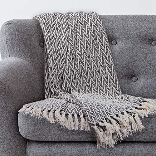 Americanflat Nira Black And Cream Chevron Cotton Blanket Throw With Fringe 50x60 Inches 0