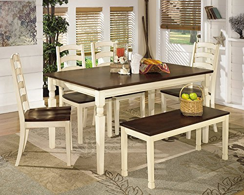 Ashley Furniture Signature Design Whitesburg 6 Piece Dining Room Set Includes Rectangular Table Bench 4 Chairs 0