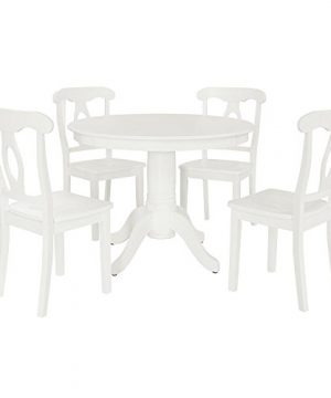 Aubrey 5 Piece Traditional Height Pedestal Dining Set White 0 300x360