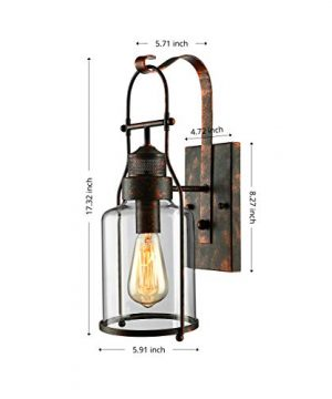 BAYCHEER Industrial Country Style 18 H Single Light Wall Sconces Wall Lighting Wall Lamp Wall Fixture Loft Light With Cylinder Glass Shade Use 1 E26 Light Bulb In Rust 0 0 300x360