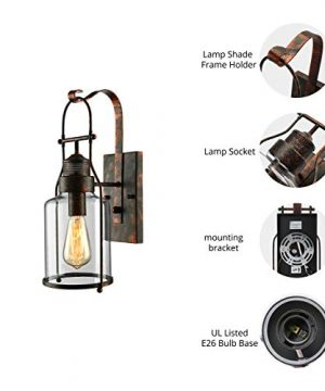 BAYCHEER Industrial Country Style 18 H Single Light Wall Sconces Wall Lighting Wall Lamp Wall Fixture Loft Light With Cylinder Glass Shade Use 1 E26 Light Bulb In Rust 0 1 300x360