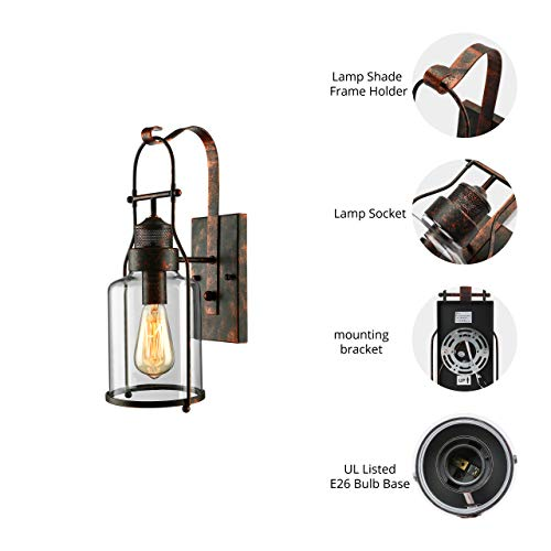 BAYCHEER Industrial Country Style 18 H Single Light Wall Sconces Wall Lighting Wall Lamp Wall Fixture Loft Light With Cylinder Glass Shade Use 1 E26 Light Bulb In Rust 0 1