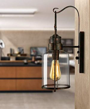 BAYCHEER Industrial Country Style 18 H Single Light Wall Sconces Wall Lighting Wall Lamp Wall Fixture Loft Light With Cylinder Glass Shade Use 1 E26 Light Bulb In Rust 0 2 300x360