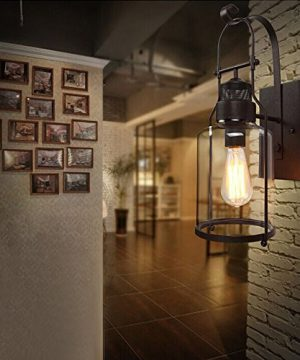 BAYCHEER Industrial Country Style 18 H Single Light Wall Sconces Wall Lighting Wall Lamp Wall Fixture Loft Light With Cylinder Glass Shade Use 1 E26 Light Bulb In Rust 0 3 300x360