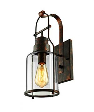 BAYCHEER Industrial Country Style 18 H Single Light Wall Sconces Wall Lighting Wall Lamp Wall Fixture Loft Light With Cylinder Glass Shade Use 1 E26 Light Bulb In Rust 0 300x360