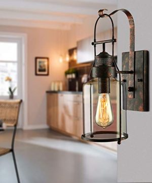 BAYCHEER Industrial Country Style 18 H Single Light Wall Sconces Wall Lighting Wall Lamp Wall Fixture Loft Light With Cylinder Glass Shade Use 1 E26 Light Bulb In Rust 0 4 300x360