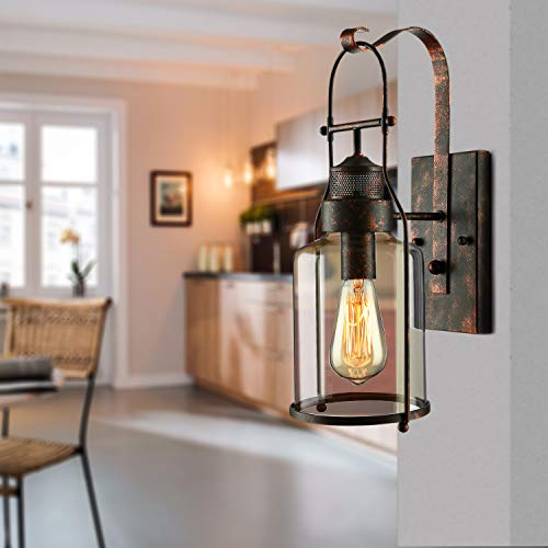 BAYCHEER Industrial Country Style 18 H Single Light Wall Sconces Wall Lighting Wall Lamp Wall Fixture Loft Light With Cylinder Glass Shade Use 1 E26 Light Bulb In Rust 0 4