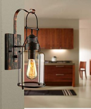 BAYCHEER Industrial Country Style 18 H Single Light Wall Sconces Wall Lighting Wall Lamp Wall Fixture Loft Light With Cylinder Glass Shade Use 1 E26 Light Bulb In Rust 0 5 300x360