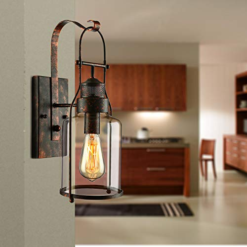 BAYCHEER Industrial Country Style 18 H Single Light Wall Sconces Wall Lighting Wall Lamp Wall Fixture Loft Light With Cylinder Glass Shade Use 1 E26 Light Bulb In Rust 0 5