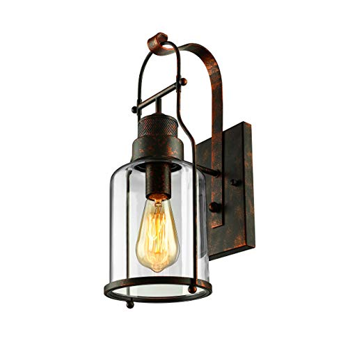 BAYCHEER Industrial Country Style 18 H Single Light Wall Sconces Wall Lighting Wall Lamp Wall Fixture Loft Light With Cylinder Glass Shade Use 1 E26 Light Bulb In Rust 0