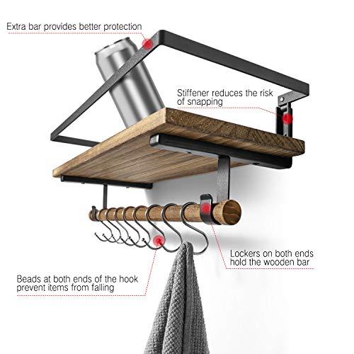 BAYKA Floating Shelf Wall Mounted Rustic Wood Shelf For Bathroom Kitchen Decor Storage Shelf With 8 Removable Hooks And Towel Bar 0 4