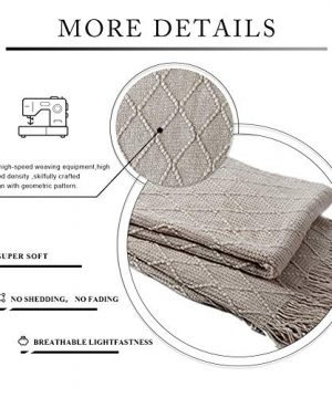 BOURINA Beige Throw Blanket Textured Solid Soft Sofa Couch Cover Decorative Knitted Blanket 50 X 60 Beige 0 0 300x360