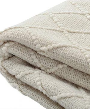 BOURINA Beige Throw Blanket Textured Solid Soft Sofa Couch Cover Decorative Knitted Blanket 50 X 60 Beige 0 2 300x360