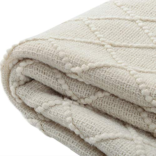 BOURINA Beige Throw Blanket Textured Solid Soft Sofa Couch Cover Decorative Knitted Blanket 50 X 60 Beige 0 2
