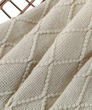 BOURINA Beige Throw Blanket Textured Solid Soft Sofa Couch Cover Decorative Knitted Blanket 50 X 60 Beige 0 3 300x360
