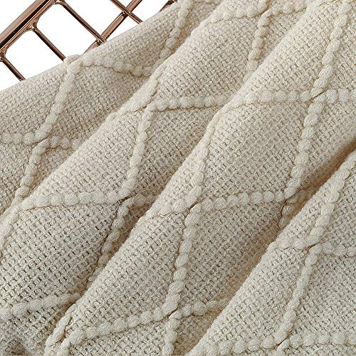BOURINA Beige Throw Blanket Textured Solid Soft Sofa Couch Cover Decorative Knitted Blanket 50 X 60 Beige 0 3