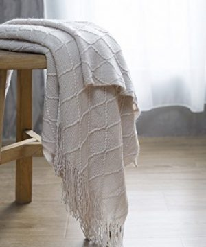 BOURINA Beige Throw Blanket Textured Solid Soft Sofa Couch Cover Decorative Knitted Blanket 50 X 60 Beige 0 4 300x360
