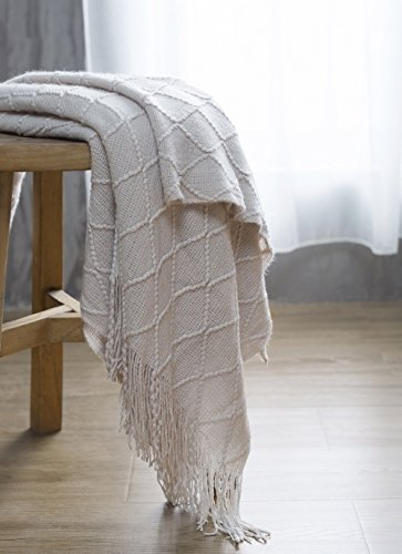 BOURINA Beige Throw Blanket Textured Solid Soft Sofa Couch Cover Decorative Knitted Blanket 50 X 60 Beige 0 4