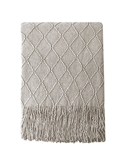 BOURINA Beige Throw Blanket Textured Solid Soft Sofa Couch Cover Decorative Knitted Blanket 50 X 60 Beige 0