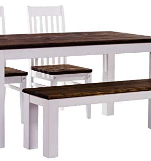 BRASIL Mbel TableChamp Dining Table Set For Four Rio Pine With Bench And Two Chairs Dark Brown Oak Antique White Solid Wood 0 300x321