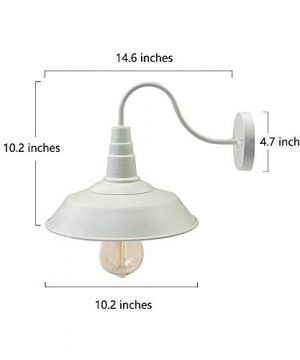 BRIGHTESS W8903 Retro White Wall Sconce Lighting Gooseneck Barn Lights Industrial Vintage Farmhouse Wall Lamp Led Porch Light For Indoor Bathroom Hardwired 2 Packs 0 1 300x360