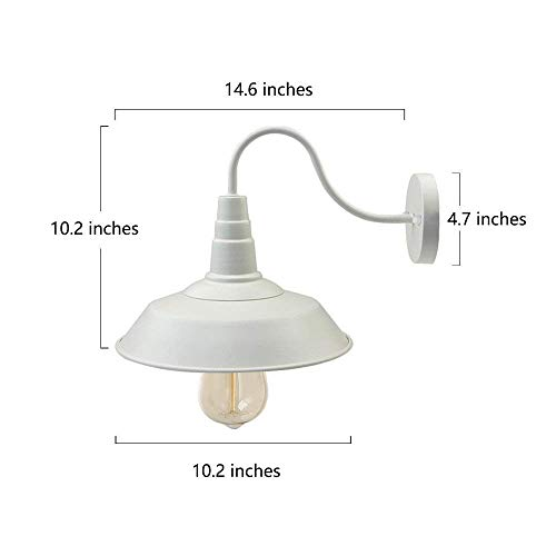 BRIGHTESS W8903 Retro White Wall Sconce Lighting Gooseneck Barn Lights Industrial Vintage Farmhouse Wall Lamp Led Porch Light For Indoor Bathroom Hardwired 2 Packs 0 1